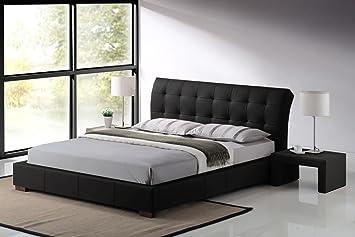 Modern Furniture Direct Fabio Double Designer Leather Bed Frame, 4 Ft  6 Inch, Black: Amazon.co.uk: Kitchen U0026 Home