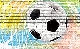VLIESFOTOTAPETE Fototapete Tapete Wandbild Vlies | Welt-der-Träume| Graffiti - Fußball auf Ziegelwand | VEL (152,5cm. x 104cm.) | Photo Wallpaper Mural 2021VEL-AW | Fußball Sport Tor Sportler Imitation Mauer Ziegel