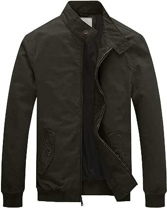 WenVen Men's Outdoor Lightweight Jacket Casual Cotton Coat Classic Full-Zip Jacket Military Jackets