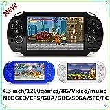 Consola de Juegos portátil CZT 4.3 Pulgadas 8 GB y 64 bits Retro incorporada 1200+ neogeo/CPS/FC/SFC/GB/GBC/GBA/SMC/Sega Consola de Videojuegos de Juegos con MP3 Función MP4