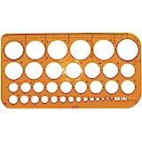 Graphoplex Trace cercles pairs/impairs 36 cercles de 1 à 36 mm Orange Transparent