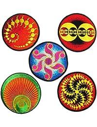 Panasiam, Kornkreis Aufnäher, 5 Stück in einer Packung, Cropcircle, heilige Geometrie