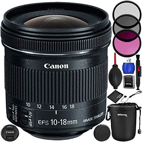 Canon EF-S 10–18mm f/4.5–5.6IS STM Objektiv Paket mit Hersteller Zubehör & Zubehör-Kit für EOS 7D Mark II, 7D, 80D, 70D, 60D, 50D, 40D, 30D, 20D, Rebel T6s, t6i, T5i, T4i, SL1, T3i, T6, T5, T3 (Eos Flash Canon T3i Rebel)