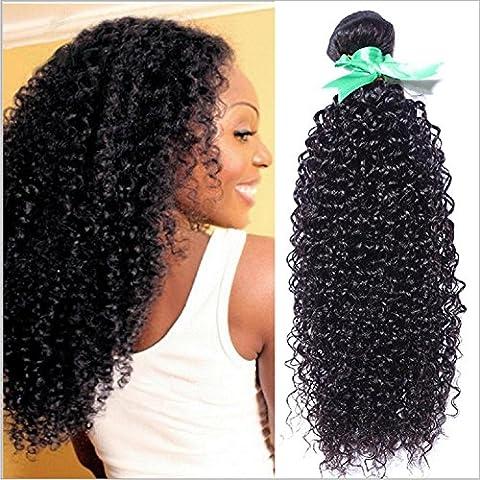 Meydlee Extensiones de Cabello 100% India Virgen sin procesar cabello humano extensión recta rizado rizado 3 paquetes Color Natural , 22 24 26