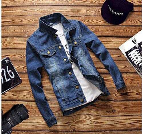 Giacca da uomo in Denim Giacca Di Jeans Cappotto a Manica Lunga Slim Fit con bottone 019Luce