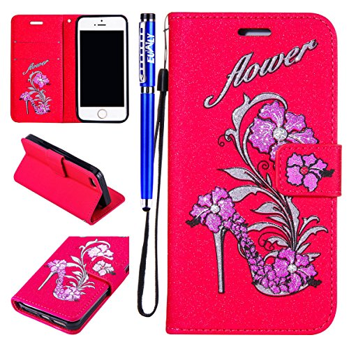 EUWLY Bling Glitter Portafoglio Custodia in PU Pelle per iPhone 5S/iPhone SE Wallet Cover Bello Fashion Printing Fiore Flower Pattern Style Custodia Cover Elegante Brillante Tacchi Alti Modello Shell  Rosso