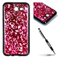 Samsung Galaxy J3 2017 Case [with 1 Black Glitter Bling Stylus Pen], JAWSEU Luxury Bling Shiny Sparkle Glitter Crystal [Slim Fit] Shockproof Shining Fashion Style Soft Flexible TPU Silicone Gel Protective Shell Case Cover For Samsung Galaxy J3 2017