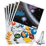 Elfen und Zwerge 6 x Weltraum Aufkleber Space Weltall Shuttle Sticker Sterne Planeten Kindergeburtstag Mitgebsel Giveaway Weltraumparty