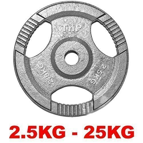 "TNP Accessories® Cast Iron Standard 1"" Radial TRI-GRIP Hammertone Disc Weight Plates EZ Bar Curl Barbell Dumbbell Weight Plate Fitness Gym 2.5kg to 25kg Weights Set (15KG x 2)"