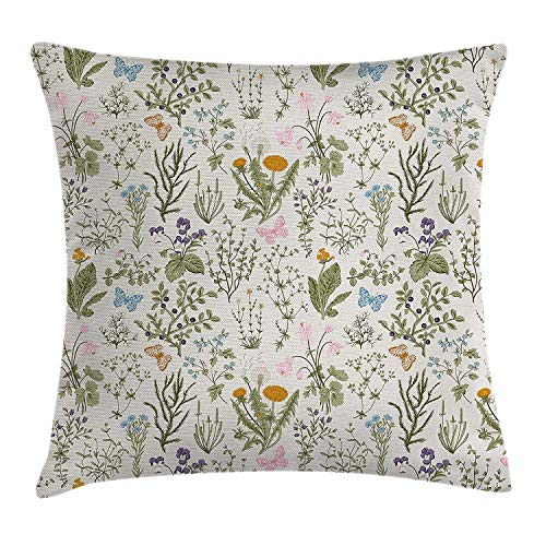 Floral Throw Pillow Cushion Cover, Vintage Garden Plants with Herbs Flowers Botanical Classic Design, Decorative Square Accent Pillow Case, 18 X 18 Inches, Beige Reseda Green Pink Blue -
