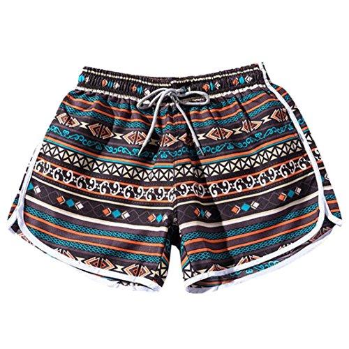 Damen Hosen Shorts - Vectrys - Sommer Hotpants Bermudas Ultra - Jeans Leggings Strand Laufgymnastik Yoga der Sporthosen Schlafanzughosen - Paare Beach Bohe Badehosen Trunks Nickel (M, Braun) -