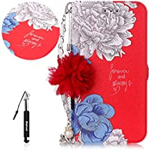 LG K10 2017 Leather Case Red,Flip Wallet Case for LG K10 2017,Huphant Beautiful Flowers Pattern (Pearl Flower + Chain) Leather Wallet Flip Cover Premium PU Leather Anti Scratch Bumper Shell Magnetic Flip Holster Case With Hand Strap Card Slots Crash Wallet Kickstand Function Slim Fit Shockproof Protection Cover for LG K10 2017 + Black Retractable Dust Plug Stylus Pen