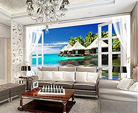 Lwcx 3D Wallpaper für Zimmer Malediven dimensionalen Raum Fenster Hintergrund Wandbild Living 3D Wallpaper Custom 3D Fototapete EIN