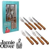 Jamie Oliver 8-teiliges Grill-Set/Steakbesteck aus Steakmesser und Gabel