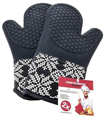 PrimeKitchen Topfhandschuhe aus Silikon & Baumwolle 2-teilig / Ofenhandschuhe für Küche und Grill / Topflappen 1 Paar (Schwarz)