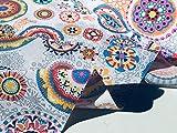 Ibiza Sommer Blumen Mandala Designer Baumwolle Stoff Material für Schneidern Vorhang Polster–280cm extra breit (Meterware)