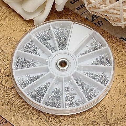 Ungfu Mall 400pcs Nail Art gemme argento chiaro rotondo strass Sparkle ruota - Argento Bean