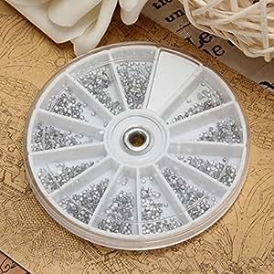 Ungfu Mall 2400Pcs e argento, gemme per Nail Art, a forma di ruota con lustrini