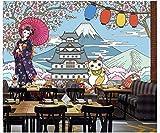 Apoart 3D Papier Peint Japonais Beauté Kimono Restaurant Japonais Sushi Délicieux Aliments Mur Outillage 450Cmx300Cm