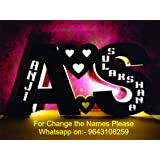 Apna Photo® Wooden Couple Alphabet LED Lamp Customized and Personalized with Any Alphabet and Name Perfect Gift for Marriage