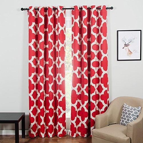 Top finel quatrefoil tende oscuranti con occhielli tenda per finestre trattamenti pannelli, per salotto, stanza di anelli, per letto singolo, 2 pezzi,140x245cm, colore: rosso