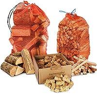 The Chemical Hut Winter Bonfire Firewood Pack - 15kg Kiln Dried Hardwood Ash Logs + 3kg Kindling + 100x Natural Wood Wooland Wax Dipped Firelighters