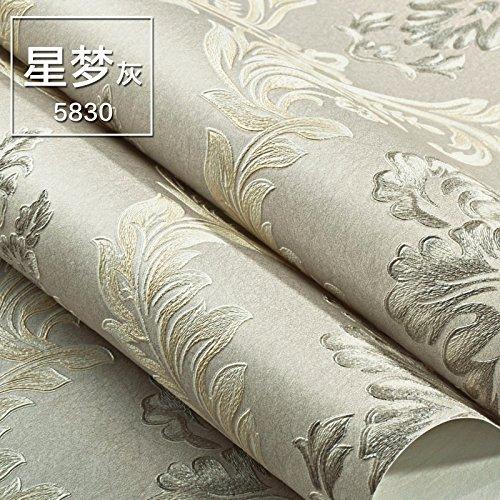Continental di tessuto non tessuto 3D goffrato Damasco camera da letto sfondo puro colore pigmento soggiorno TV parete carta , stella sullo sfondo grigio