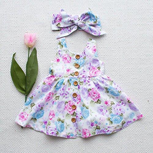 Kleinkind Mädchen Floral Prinzessin Fancy Kleid und Kopfband Outfit Kostüm Mädchen Kleidung (weiß), multi, 120 (3-4 Y) (Perücken Für Kleinkinder)