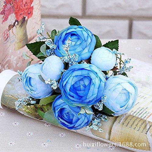 HUAYIFANG Die Erste Camellia Emulation Nehmen Abschied Nehmen Ya Yun 5 Kopf Kabelbaum Home Hochzeit Brautstrauß Hand Manuelle See Blau (See-brautstrauß)