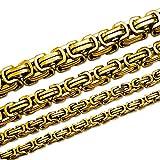 SoulCats® Königskette Halskette Armband Set Panzerkette Edelstahl gold , Größe:12 mm;Farbe:gold;Auswahl:Kette 55 cm + Armband