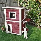 Petsfit 2 - Maison/Copropriété/abri pour chat avec porte de secours 51cm x 51cm x 51cm x 81cm