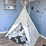 Kids Teepee Tent for Boys, 1.5 m Grey Chevron Canvas Children Play Tent