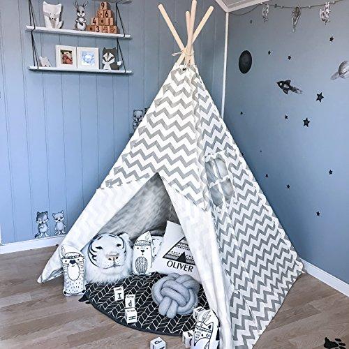 Tiny Land Tipi Enfants Intérieur pour Garçon, Toile en Coton Tente de Jeu pour Enfants (Gris Chevron)