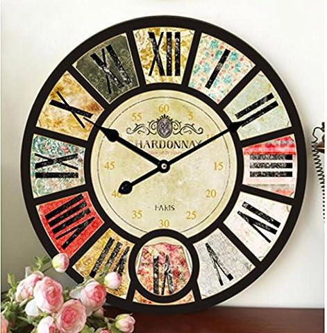SUNNY KEY-Uhren@Vintage industrielle Wind Wohn-Zimmer-Schlafzimmer ruhig römische Ziffer Wanduhr 39m / 58cm , 58cm