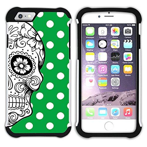 Graphic4You Mexikanische Zuckerschädel Tod Punktmuster Tupfen Muster (Wasserblau) Hart + Weiche Kratzfeste Hülle Case Schale Tasche Schutzhülle für Apple iPhone 6 / 6S Grün