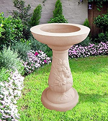 Anlaby Birdbath Buff In Colour Made From Cast Stone Frost Proof Free Delivery UK Mainland by UK Sculptures