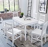 Wohnling Esszimmer-Set Emil 7 teilig Kiefer-Holz weiß Landhaus-Stil 120 x 73 x 70 cm | Natur Essgruppe 1 Tisch 6 Stühle | Tischgruppe Esstischset 6 Personen | Esszimmergarnitur massiv