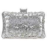 Bonjanvye Crystal Flower Hollowed-Out Metal for Women Purses and Handbags Silver