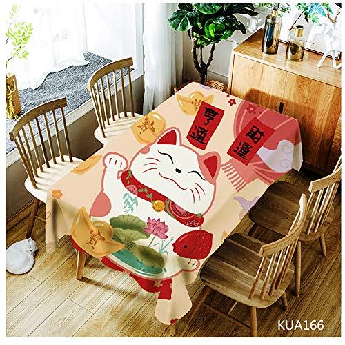 QWEASDZX Tischdecke Einfach und modern Nationaler Stil Digitaldruck Rechteckige Tischdecke Ölbeständige und wasserdichte Mehrzwecktischdecke Geeignet für Innen und Außen 140x180cm