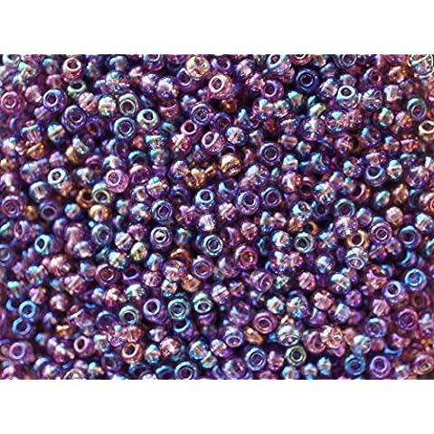 20gr 7/0 (3,2-3,7 mm) Seed Beads - Ceco rotondo Perle di Rocailles con foro rotondo, Transparent Purple Iris Rainbow