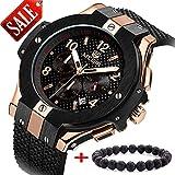 MEGIR Relojes Militar Hombre Grande oro rosa de cuarzo, negro silicona banda, cronógrafo y resistente al agua
