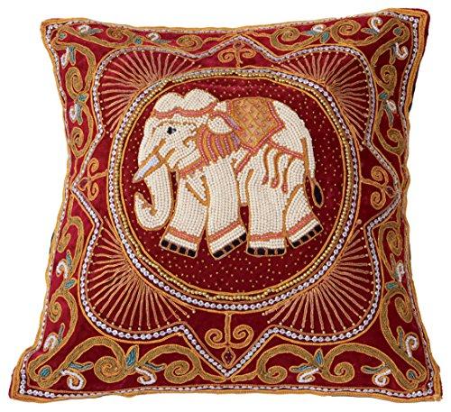 """Preisvergleich Produktbild Kissen """"Weißer Elefant"""" (Bezug) rot, bestickt, Thailand, 42 cm"""