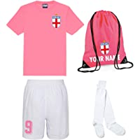 Personalised England Style Kit Pink Football Shirt, Bag, White Shorts, and Socks for Girls and Boys Best Birthday Gift…