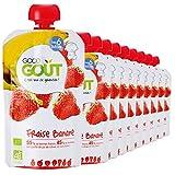 Good Goût - BIO - Gourde de Purée de Fruits Fraise Banane dès 6 Mois 120 g - Pack de 10...