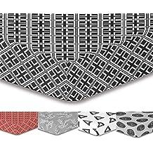 decoking Premium 95881–Sábana bajera (200x 200Puente 30cm negro sábana bajera ajustable microfibra blanco Black White HYPNOSIS Triangles