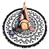 FEITONG Hippie Tapisserie Plage Throw Roundie Mandala serviette Tapis de yoga Bohemian (Noir)