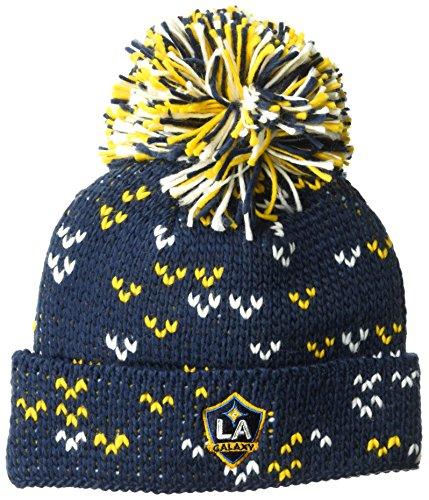 adidas MLS Los Angeles Galaxy Damen Fan Wear Cuffed Pom Knit Beanie, One Size, Schwarz -
