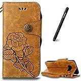 Slynmax Coque pour Samsung Galaxy S8 Housse en Cuir Étui Portefeuille Luxe Case Flip Cover Roses Vintage de Protection Emplacement Cartes Magnétique Couverture