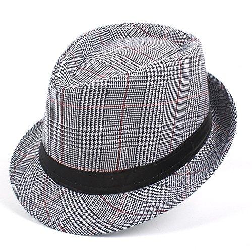 ZHJTMC Hut für Mann Mode Männer Baumwolle Hut Plaid Fedora Hut für Papa Gentleman Sun Homburg Hut Größe 58 cm (Farbe : Grau, Größe : 58 cm) (Baumwolle Plaid Fedora-hut)