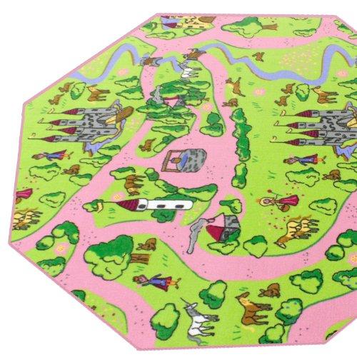 HEVO Märchenland Mädchen Teppich | Spielteppich | Kinderteppich 200 cm Achteck Oeko-Tex 100